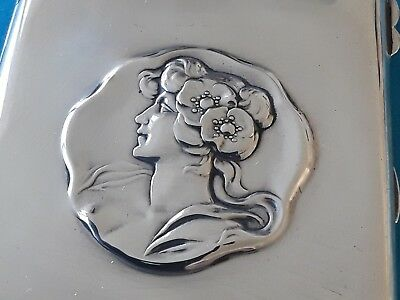 A Stunning Art Nouveau Solid Silver Card Case   1903   silk lined interior