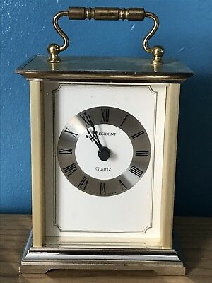 Vintage President Carriage Clock - Quartz - Metal, Brass, Made In Germany.