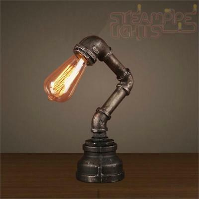 Designer Pipe Light Table Top Lamp Vintage Decor Steam Punk Industrial Study NEW