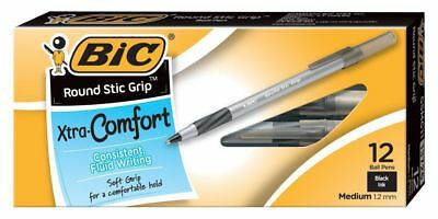 BIC Round Stic Grip Xtra Comfort Ballpoint Pen 1.2mm Medium Black Ink 12ct