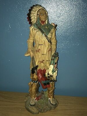"""Native American Indian Chief , Resin Statue Figure  sioux Large 17"""""""