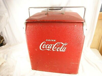 Vintage Coca Cola Picnic Cooler Action Clean Ice Chest W Opener