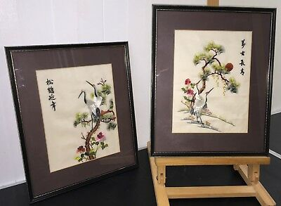 Pair of Vintage Signed & Framed Japanese Traditional Embroidered Panels on Silk