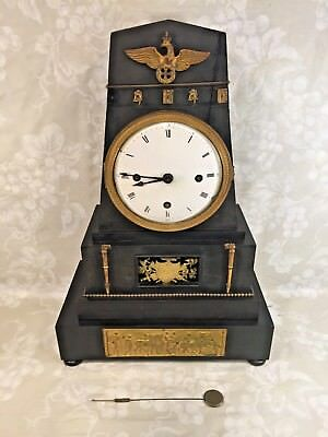Antique German Mantel Clock Enameled Dial Wood Case Crowned Eagle Trim