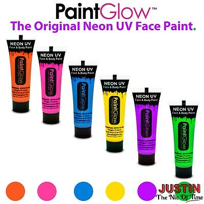 PAINT GLOW In The Dark Neon UV Face & Body Paint Set Kit of 6 FESTIVALS Clubbing