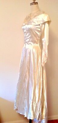 Vintage 1930's Ivory Satin Wedding Gown Long Train Dress Size 0-2