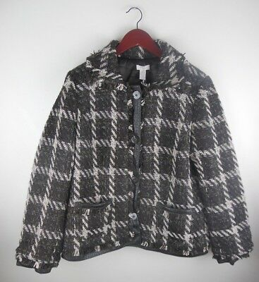 NWT Chicos Womens Purrfect Plaid Janise Jacket Metallic Faux Snake Tweed Sz 2