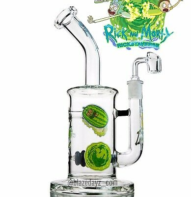 "11.5"" Rick And Morty Banger Water Pipe Bong 5mm Thick Glass Smoke Pipe"