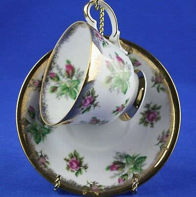 Vintage Napco China Cup & Saucer Roses Gold Spray SD141 Hand Painted Japan