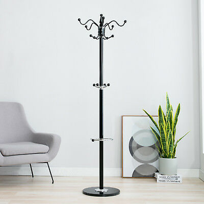 "70"" 15 Hooks Metal Coat Hat Jacket Stand Tree Holder Hanger Rack Marble Base BLK"