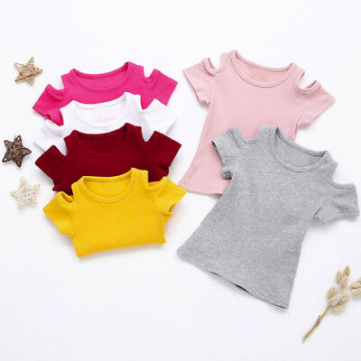 Toddler Baby Girl Soft Short Sleeve Solid Soft Toddler Kids Tops T-Shirt Clothes