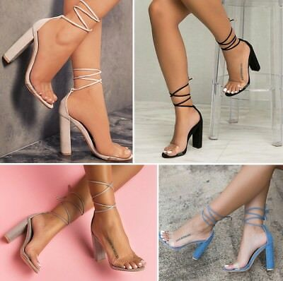 f329112055d Hot Womens Transparent Peep Toe Ankle Strappy Sandals Block High Heel Shoes  Size