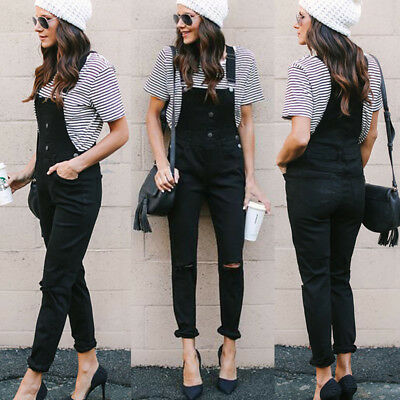 Women Slim Denim Ripped Jeans BIB Pants Overall Straps Jumpsuit Rompers Trousers