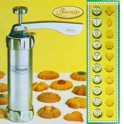 Press Biscuit Cookie Making Machine Cake Maker 20 Moulds 4 Nozzles Cooking Tools
