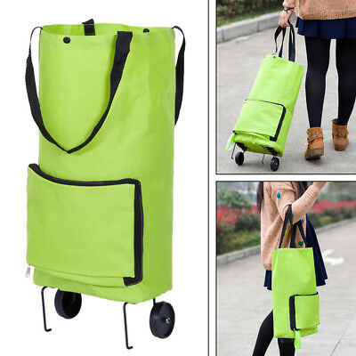 Shopping Cart Carts Trolley Bag Foldable Bags Luggage Wheels Folding Basket New