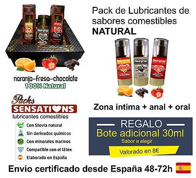 Gel Lubricante íntimo de sabores comestible NATURAL 150ml o 240ml + REGALO