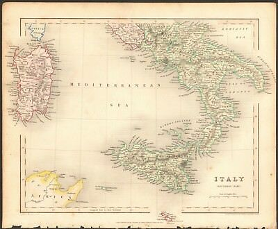 1840 ca ANTIQUE MAP - ITALY, SOUTHERN PART