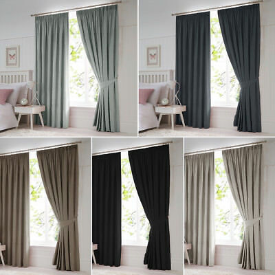 Ready Made Pair Thermal Blackout Pencil Pleat Curtains W/ Free Tiebacks 7 Sizes