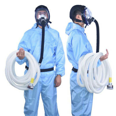 Full Face Gas Mask 10M Long Hose Pipe Air Respirator System with Cartridge Blue