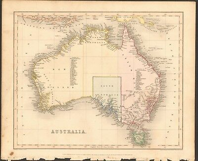 1840 ca ANTIQUE MAP - AUSTRALIA, WITH LISTS OF COUNTIES