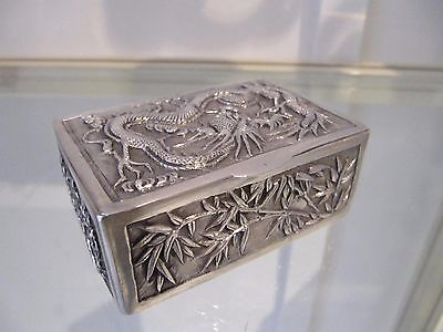 Antique Chinese export silver rectangular box Dragoon & bamboo 73g 2,57oz