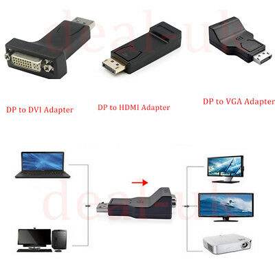 TOP DP Display Port Male to DVI HDMI VGA Female Converter Adapter Fr PCTV dk lot