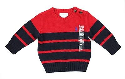 Polo Ralph Lauren Baby Boys Cable Knit Striped Jumper Size 6M