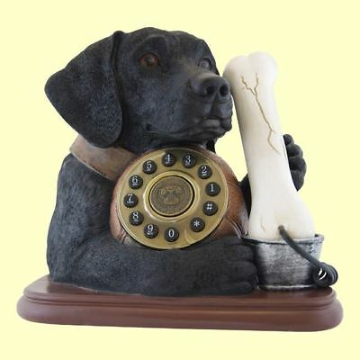 Telephone Black Labrador Dog & Bone Phone Steepletone Novelty Table Top Landline