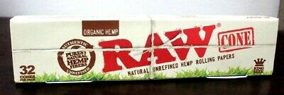 RAW Prerolled Cones With Filters 32 Count Organic KING Rolling Papers