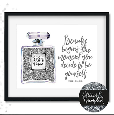 Fashion Wall Art illustration perfume print beauty chanel quote NO GLITTER