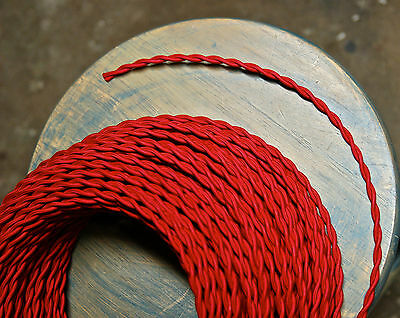Red Twisted Rayon Cloth Covered Wire, Vintage Fabric Braided Color Lamp Cord
