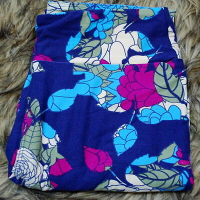 New LuLaRoe OS Leggings Floral Stained Glass Roses Purple Blue Fuchsia Green