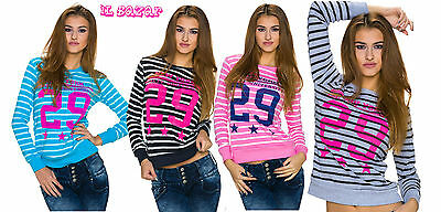 sweater striped short seasons press to contrast 4 variations colour one size
