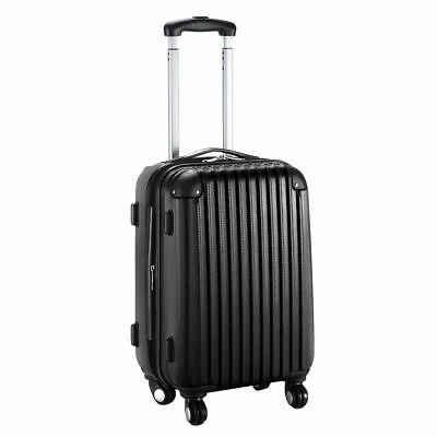 "20"" Expandable ABS Carry On Luggage Travel Bag Trolley Suitcase Black"