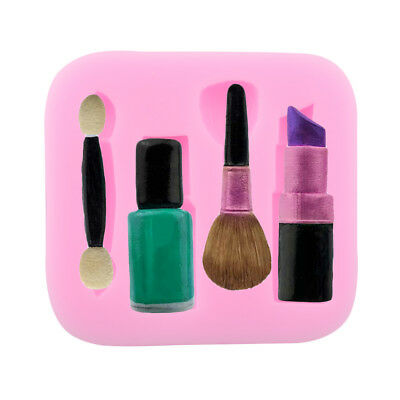 Lipstick Makeup Brush Silicone Mould Sugarcraft Cupcake Toppers Decorating Cake