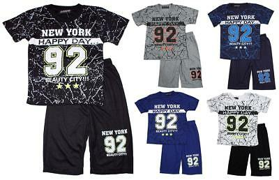 Boys New York 92 Marble T-Shirt Top & Shorts Summer Fashion Set 2 to 10 Years