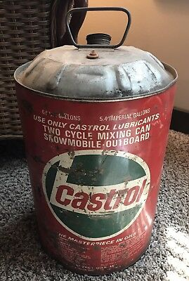 VINTAGE Old Castrol MOTOR OIL 6.5 US Gallon CAN Two-Cycle Snowmobile Outboard