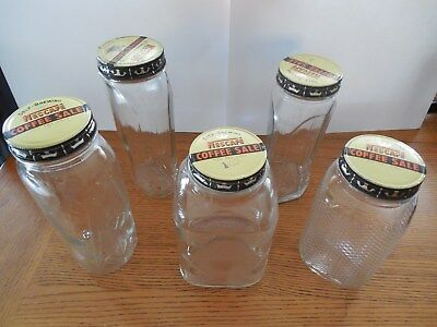 5 Assorted Vintage Glass Jars With Metal Nescafe Lids