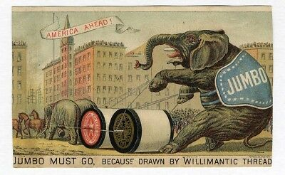 JUMBO Willimantic Thread Trade Card 1880's Sewing Circus Elephant