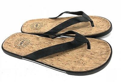 e76802666c69 UGG Australia Bennison II Cork Leather Flip Flops Black 1007879 Men s Shoes