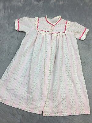 Vintage Handmade Toddler Girls Pink White Floral Lace Trim Covee Up Robe