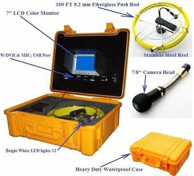 "Sewer Drain Pipe 7"" LCD Display DVR USB 100FT Cable 7/8"" Color Inspection Camera"
