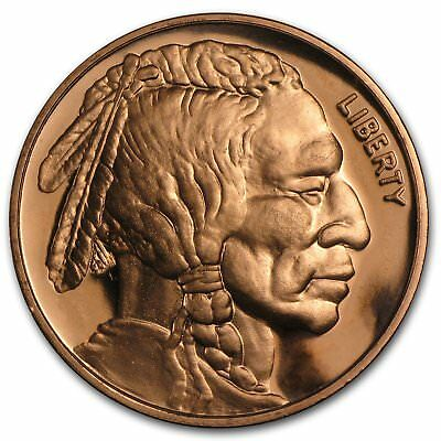 classic American Indian /buffalo  1 oz pure copper art bullion 39 mm rounds.999