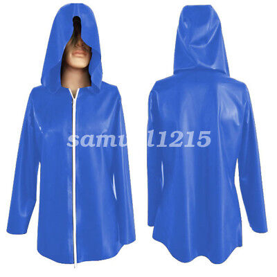 latex Rubber Men Gummi Handsome Hoodie Jacket Sport Shirt Navy Blue Size XXS-XXL