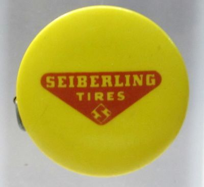 1950's SEIBERLING TIRES Herring-Wissler Co. IOWA celluloid tape measure *