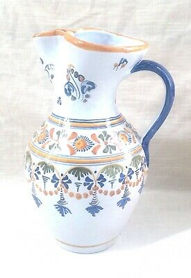 Vintage Hand Made/Painted Ceramic Talavera Pitcher - Spain - Circa 1970