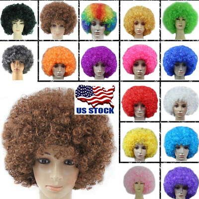 Adult Child Holiday Clown Afro Hair Football Fan Costume Cosplay Curly Wigs Wig