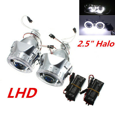 "2.5"" White Angel Eye Halo H1 HID Dual Xenon LHD Car Headlight Projector Lens 2x"
