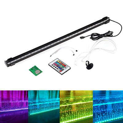 Aquarium Fish Tank LED Light Bubble Submersible Waterproof Bar Strip Lamp+Remote