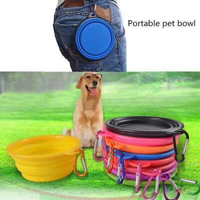 Travel Folding Silicone Pet Dog Cat Water Food Bowl Cup with Carabiner